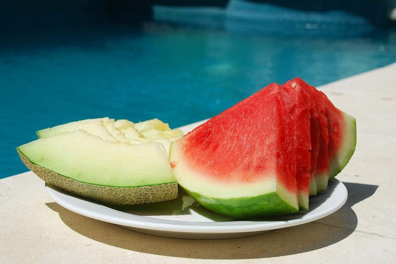 sandía y melón, alimentos, verano